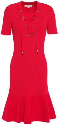 MICHAEL Michael Kors Lace-up Ribbed-knit Dress