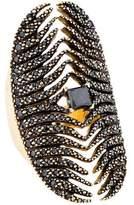 Mizuki 14K Black Diamond Feather Medallion Shield Ring