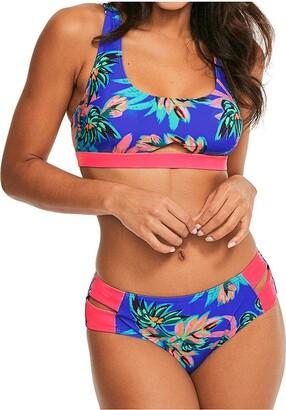 Figleaves Womens Fiji Soft Crop Bikini Top Size 10 in Purple Palm