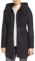 GUESS Women's Wool Blend Hooded Coat