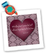 3dRose LLC qs_41129_3 777images Designs Graphic Design Bible Verse - Vintage Valentine Heart in 3d with Psalm 103 verse 2 on a Pink Lace texture background. - Quilt Squares