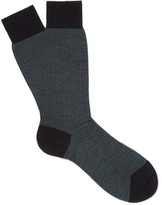 Pantherella Finsbury Herringbone Merino Wool-blend Socks - Teal
