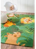 nuLoom Handmade Kids Safari Animals Green Wool Rug (3'6 x 5'6)