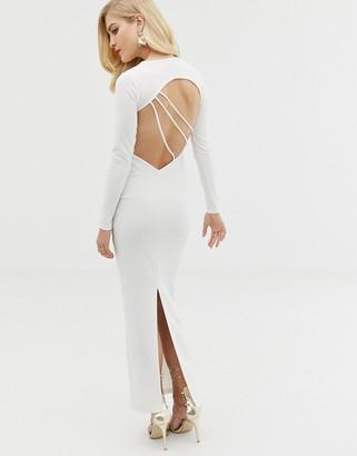 Asos Design DESIGN long sleeve strappy back maxi dress-White