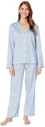Lauren Ralph Lauren Petite Classic Woven Long Sleeve Pointed Notch Collar Long Pants Pajama Set (Blue Stripe) Women's Pajama Sets