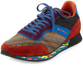 Etro Paisley-Print Trainer Sneaker, Brown/Blue/Orange