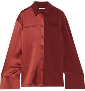 Co Paneled Satin And Crepe Shirt