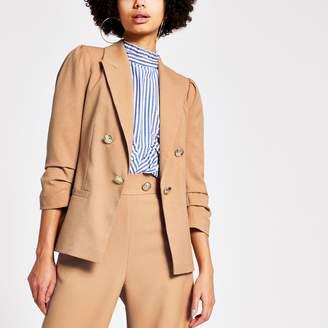 River Island Womens Beige puff sleeve button front blazer