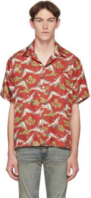 Amiri Red Silk Crane Short Sleeve Shirt