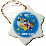 3dRose Beverly Turner Moving to - United States Map, Moving to Washington, Heart and Car with Luggage - 3 inch Snowflake Porcelain Ornament (orn_234530_1)