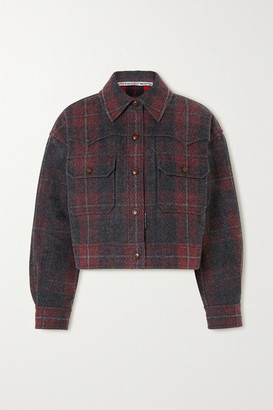 Alexander Wang Oversized Checked Brushed-denim Jacket - Red