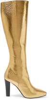 Saint Laurent Lily Metallic Snake-effect Leather Knee Boots - Gold