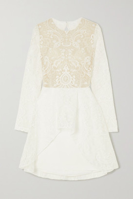 Rime Arodaky Sansa Open-back Lace And Crepe Mini Dress - White