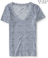 Aeropostale Womens Geometric Print V-Neck Tee Shirt Ivory