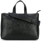 DKNY debossed logo shoulder bag - women - Leather - One Size