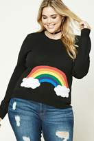 Forever 21 FOREVER 21+ Plus Size Rainbow Sweater