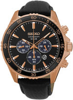 Seiko Mens Rose-Tone Chronograph Black Leather Strap Watch SSC448