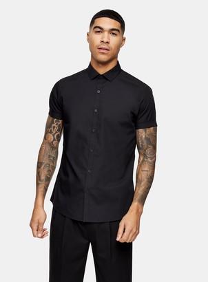 Topman Black Slim Smart Shirt