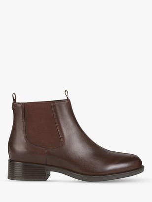 Geox Women's Resia Leather Wedge Heel Ankle Boots, Brown