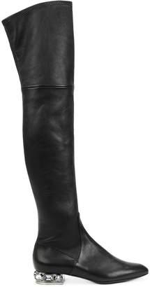 Casadei embellished heel over-the-knee boots