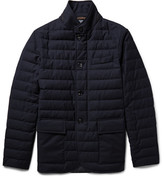 Ermenegildo Zegna Slim-fit Leather-trimmed Quilted Wool Down Jacket - Midnight blue