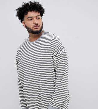 Asos Design DESIGN Plus oversized long sleeve stripe t-shirt in towelling-Beige