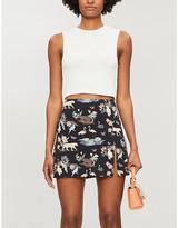 Reformation Margot wildlife-print crepe mini skirt