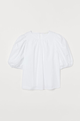 H&M Cotton Puff-sleeved Blouse - White