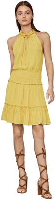 BCBGMAXAZRIA Women's Smocked Waist Sleeveless Dress