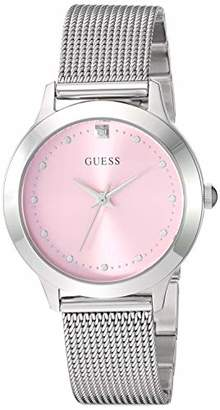 GUESS Stainless Steel Mesh Bracelet Watch with Pink Genuine Diamond Dial. Color: (Model: U1197L3)