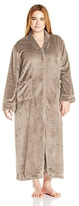Casual Moments Women's Plus Size 52 Inch Vneck Zip Front Robe