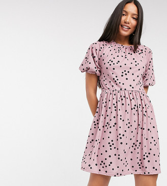 Asos Tall ASOS DESIGN Tall gathered neck mini smock dress in dusty pink and black spot