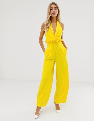 Asos Design DESIGN plunge jumpsuit with paperbag waist detail-Yellow