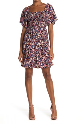 Angie Square Neck Floral Print Smocked Dress