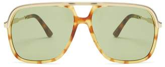 Gucci Aviator Square Acetate Sunglasses - Mens - Multi