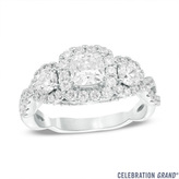 Celebration Grand® 1-1/2 CT. T.W. Cushion-Cut Diamond Three-Stone Frame Engagement Ring in 14K White Gold
