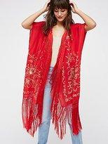 Free People Ophelia Embroidered Fringe Kimono