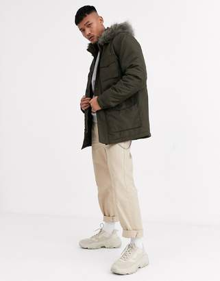 Asos Design DESIGN hooded parka with detachable faux fur trim in khaki-Green