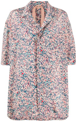 No.21 Floral-Print Open-Collar Shirt