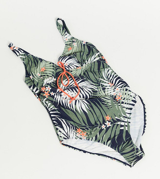 Mama Licious Mamalicious Maternity swimsuit with nursing function in tropical print