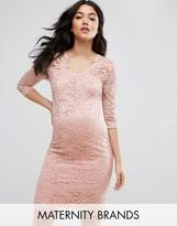 Mama Licious Mama.licious 3/4 Sleeve Lace Bodycon Dress