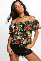 boohoo Josie Tropical Print Pom Pom Off The Shoulder Top multi