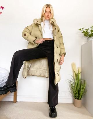 Jakke laura recycled polyester longline jacket with hood in tonal polkadots