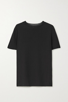Joseph Rubin Ribbed Knit-trimmed Silk-crepe T-shirt - Black