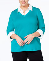 Karen Scott Plus Size Cotton Layered-Look Top, Created for Macy's