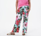 Denim & Co. Petite Beach Pull-on Pants with Side Slits