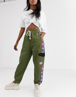 Champion reverse weave cargo trousers with logo taping co-ord-Green