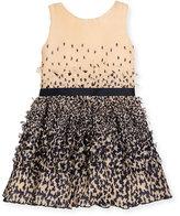 Zoë Ltd Sleeveless Plissé; Chiffon Clover Dress, Peach/Navy, Size 7-16