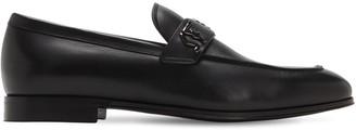 Salvatore Ferragamo Riben Metal Logo Leather Loafers