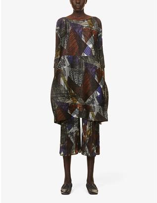 Pleats Please Issey Miyake Andante graphic-print pleated woven midi dress